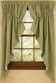 plaid gathered swag prairie curtain set 36