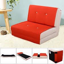 Orange Sofa Bed Fold Down Chair Flip Out Lounger Convertible Sleeper Bed Couch