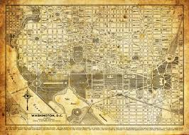 Maps Of Washington Dc by Washington Dc Map Street Map Vintage Sepia Grunge Print