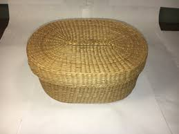 vintage woven wicker basket handle top 7 5 long oval shape south