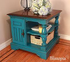 Turquoise Side Table Tirquoise End Table Small Reclaimed Turquoise Paint 1 Dr Tall