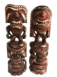 set of 2 tiki statues 40 hawaiian carved sculptures