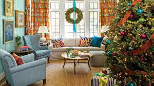 Orange And Blue Christmas Decorations by Our Favorite Living Rooms Decorated For Christmas Southern Living