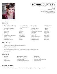 Musical Theater Resume Resume U2014 Sophie Duntley