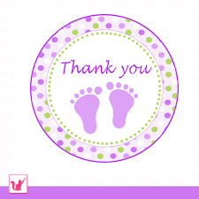 instant download printable cute green purple circle thank you