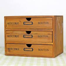zakka vintage real wooden storage box with 3 drawer imitate