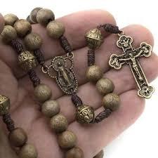 catholic rosary catholic rosary wood strong cord miraculous center men women