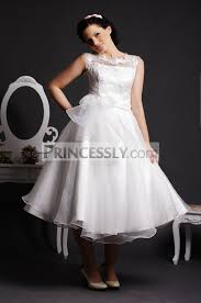 organza wedding dress lace scoop neck tea length gown skirt organza wedding dress w
