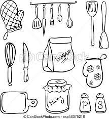 griffonnage style dessin animé cuisine style clipart