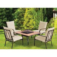 oristano 5 piece fire pit garden furniture set buy online at qd stores