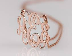 gold monogrammed necklace custom sterling silver name necklace personalized monogram necklace