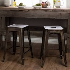 tabouret 24 inch vintage patina backless counter stool set of 2