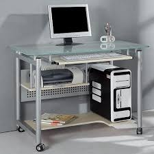 Rolling Computer Desk Glass And Silver Colored Metal Assembled