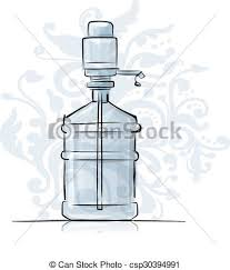 eps vectors of bottle with distilled water sketch for your design