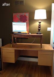 Convert Desk To Standing Workstation Diy 5 Minute Standing Desk Conversion Modhomeec