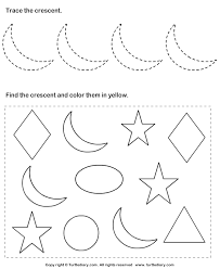 trace crescent and color them worksheet turtle diary