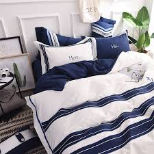 his and hers bed set attractive royal blue white stripe embroidery bedding set