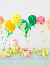 Yellow Pom Pom Flowers - diy pom pom flower party sticks