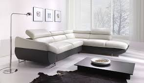 modern black and white leather sectional sofa living room amazon com vig furniture t117 modern white leather