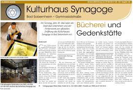 Allgemeine Zeitung Bad Kreuznach Schlosserei Pauly Kulturhaus Synagoge Bad Sobernheim
