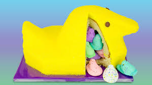 giant peeps cake with surprise inside from cookies cupcakes and