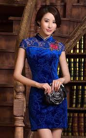 blue lace velvet short cheongsam with floral applique embroidery