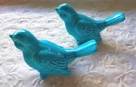 Birds Home Decor Wedding Cake Topper Ceramic Birds Vintage Ceramic In Turquoise