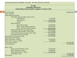 cara membuat laporan laba rugi komersial temu 6 variable costing