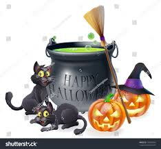 halloween background of wich happy halloween cartoon illustration witches cauldron stock vector