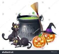 happy halloween cartoon illustration witches cauldron stock vector