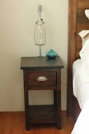 nightstand exquisite rustic dark brown glossed wood narrow
