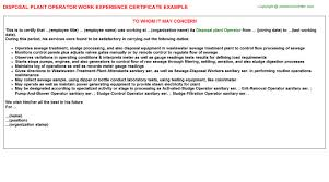 Water Treatment Plant Operator Resume Water Treatment Plant Operator Work Experience Letters