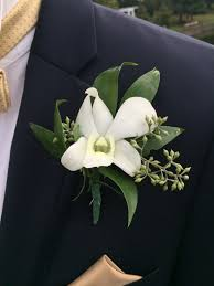 wedding flowers groom groom s boutonniere dendrobium orchid with seeded eucalyptus