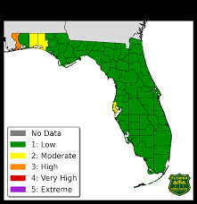 Weather Map Florida by Florida Forest Service Fire Danger Index Map And Report