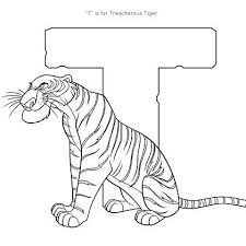 T Is For Tiger Coloring Page Disney Family Coloring Pages Tiger