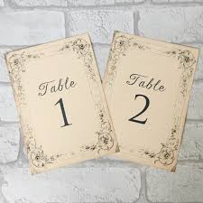 what size are table number cards vintage style table number cards with pretty antique border design