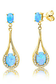 byjoy jewellery byjoy 925 gold plated oval shape blue sapphire dangle earrings