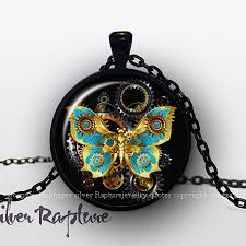 glass butterfly necklace images Steampunk butterfly necklace silver butterfly pendant glass jpg
