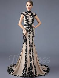 evening gown high neck trumpet cap sleeves appliques court evening dress