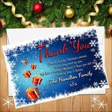 christmas thank you cards 10 personalised christmas thank you cards n18