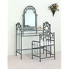 Wrought Iron Vanity Set Amazon Com Coaster Vanity Table Set In Black Kitchen U0026 Dining