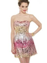 cocktail party silhouette sheath short length strapless multi color sequined cocktail party