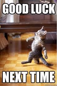 Good Luck Cat Meme - good luck next time struttin cat quickmeme