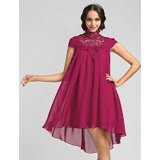 Asymmetrical Chiffon Bridesmaid Dress Fuchsia Plus Sizes