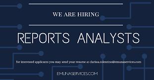 Send Your Resume At Reports Analyst Job Hiring Clark Freeport Zone Pampanga