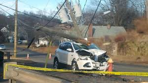 car crashes into pole on fowler avenue in meriden