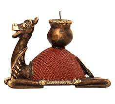 wholesale dhokra metal camel figurine with candle holder
