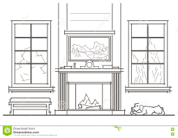 Living Room Architecture Drawing Architectural Sketch Living Room Interior With Chimney Front View