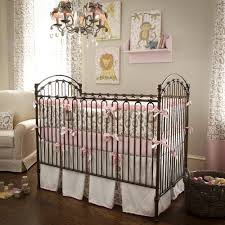 Brown And Pink Crib Bedding Brown Steel Crib With Bars On The Side Board Combined With