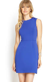 forever 21 contemporary pleated scuba knit dress in blue lyst
